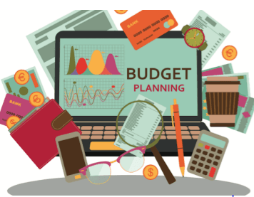 Image of Briefcase, folders, money, and credit cards. With text saying Budget Planning.