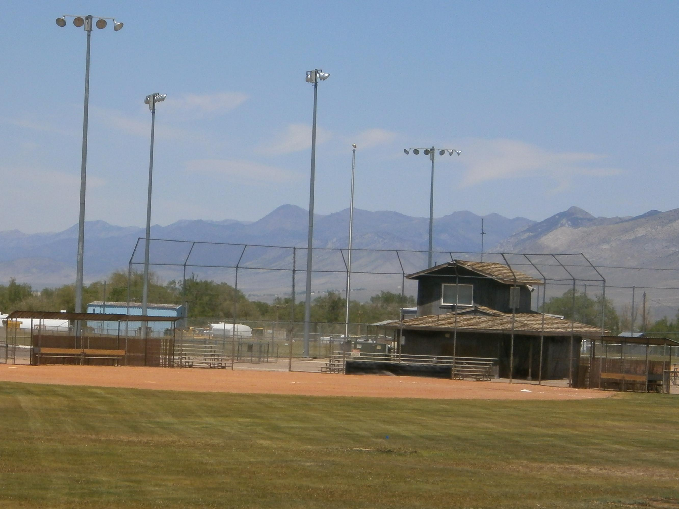 Baseball Field Facing Home Plate and Building